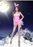 Womens adult sequins sexy belly ballet modern dance girls leotards dress pink bunny latin pole DS Jazz costumes females skirts