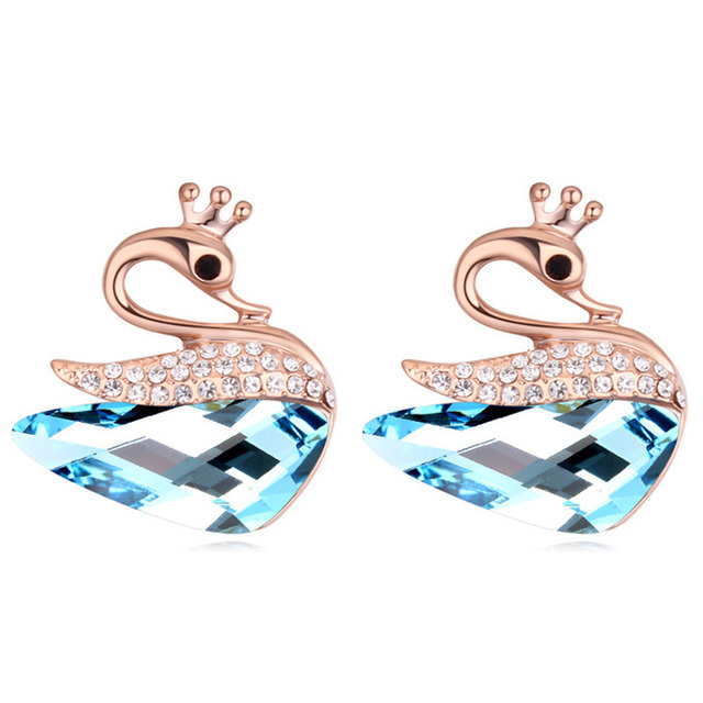 Swan Earrings Austrian Crystal Ear Piercing Studs Cute For Kids Women S Jewelry 5