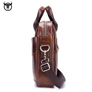 Image 3 - 本革メンズブリーフケースヴィンテージビジネスコンピュータバッグファッションメッセンジャーバッグ男性ショルダーバッグ郵便配達男性ハンドバッグ