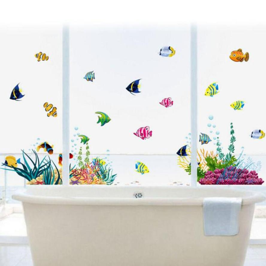 The Wall Sticker For Bathroom Kids Room Home Decor Colorful Cartoon  Aquarium Removable Wall Sticker Muurstickers