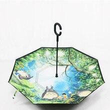 Зонтик заднего вида для автомобиля с аниме Тоторо, ветрозащитный перевернутый зонтик для женщин