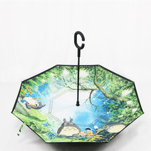 Anime Ghibli Totoro Inverse Parapluie Coupe Vent Parapluie Inversé Pour Voiture Paraguas Inverso Totoro Parapluie Inverse À Lenvers