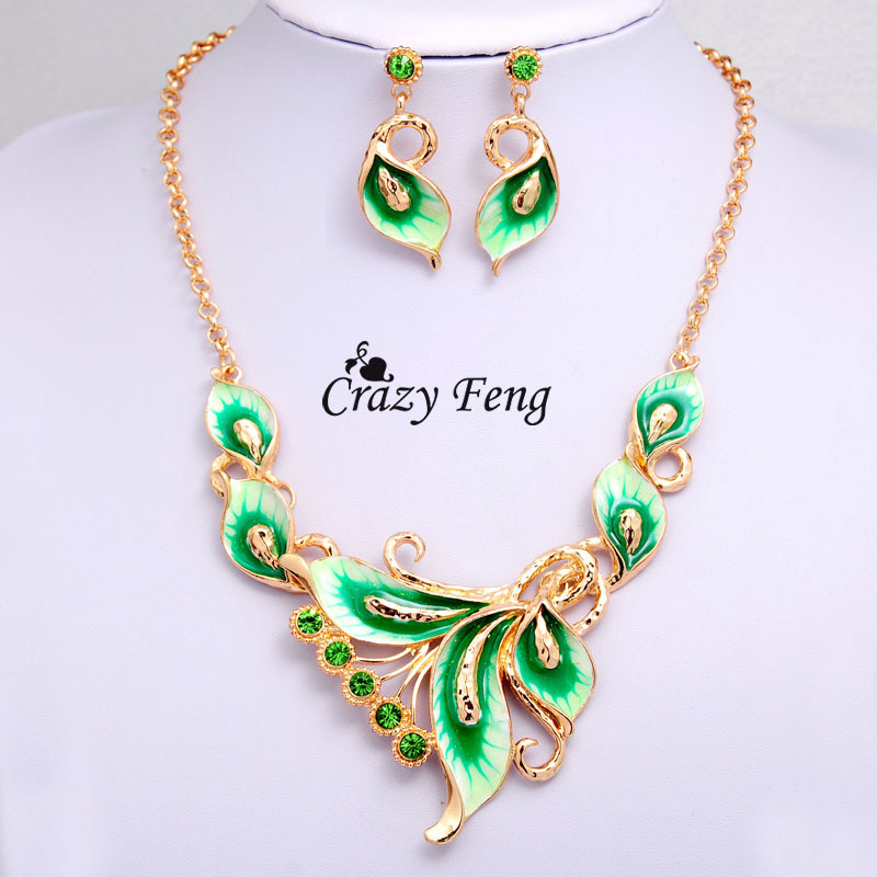 Women Austrian Crystal Jewelry Sets Yellow Gold Color flower 4