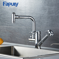 Fapully Brass Doudle Handle Ktichen Faucet Parts Pull Out Kitchen Sink Faucet