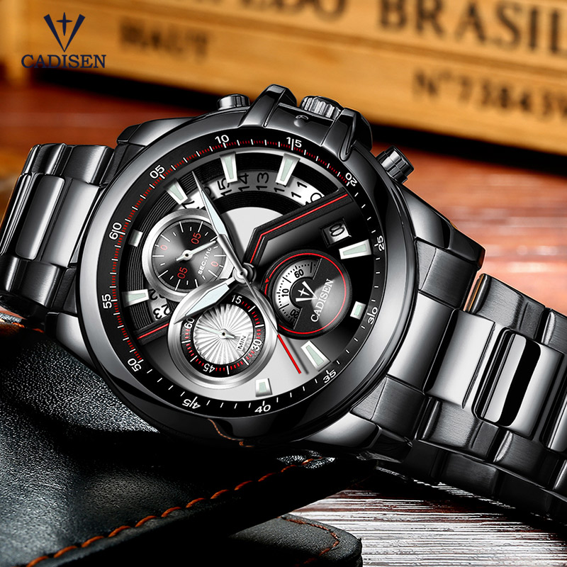 Cadisen Black Stainless Steel Strap Quartz Watches for Business Heren - Herenhorloges - Foto 3