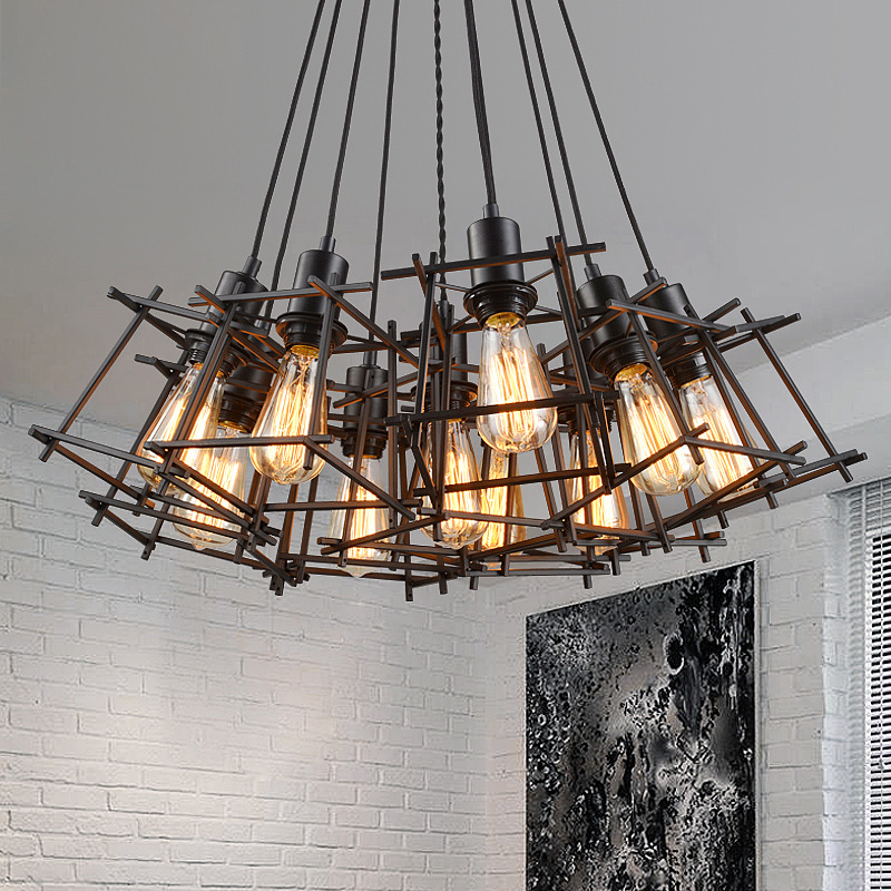 Antique Black Wrought Iron Industrial Pendant Light American Loft Style Cage Lamp Retro Hanging Lamp Edison LED Bulb Droplight american loft vintage pendant light wrought iron retro hanging lamp edison nordic restaurant light industrial lighting fixtures