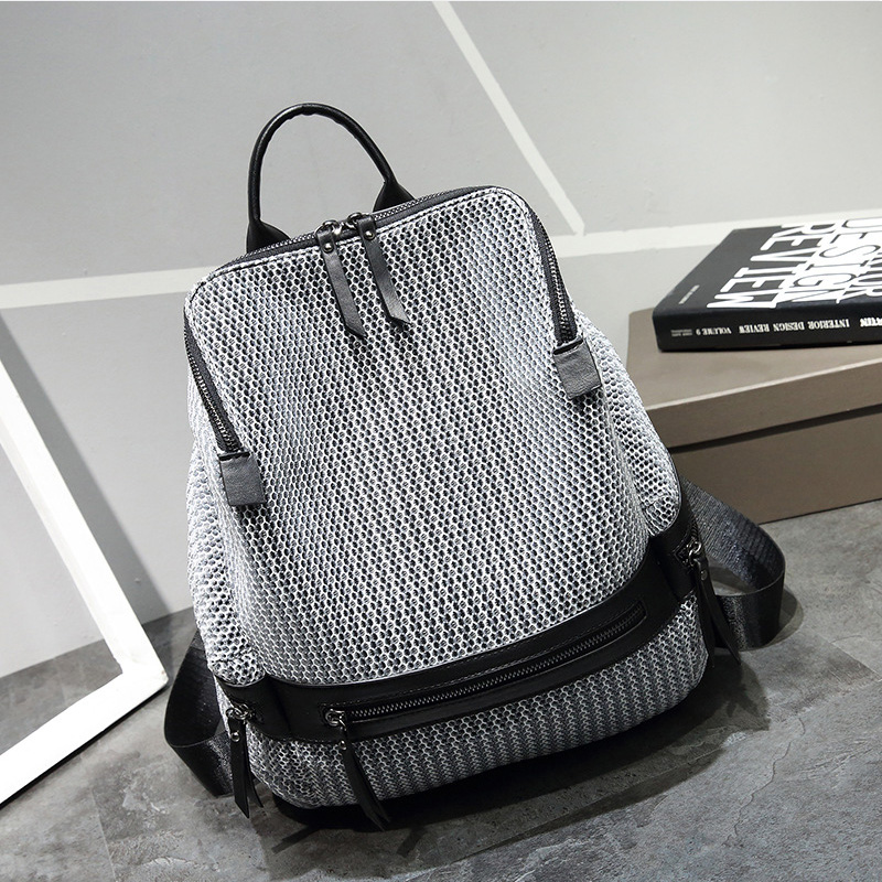 New Design Mesh Breathable Women Backpack For Teenage Girls Patchwork Casual School Back ...