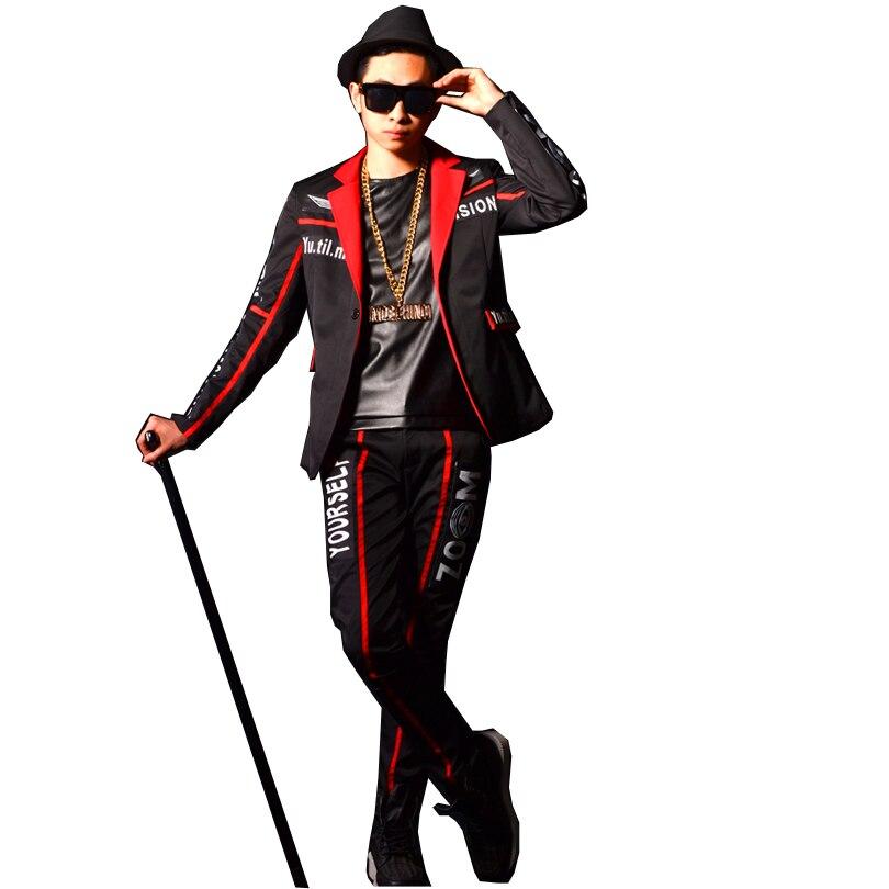 Мужские костюмы на заказ, Модный Тонкий Повседневный Блейзер, куртка + брюки, комплекты Мужской певец танцевальный сценический шоу, одежда д