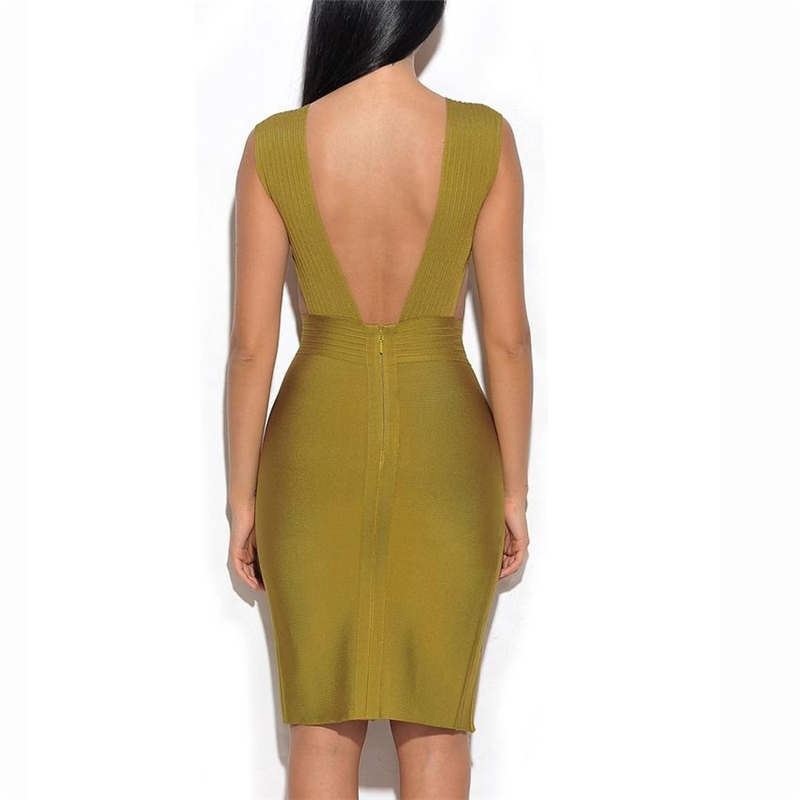 FH10 Olive Green White Red Sexy Cocktail Vestidos Side Split Bandage ... 736001dc6cca