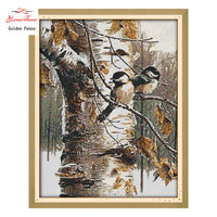 Golden Panno Cross Stitch Autumn Birds Pattern 11CT 14CT DIY Cross Stitch Kits For Embroidery Wall
