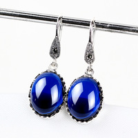 Drop Earrings Natural Black Stone 925 Silver Earring Fashion Red Blue Zircon 100 S925 Sterling Silver