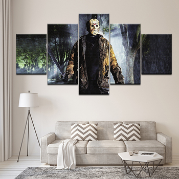 Холст картины Джейсон Вурхиз пятница 13th 5 шт. Wall Art Картина модульная обои плакат печати домашнего декора