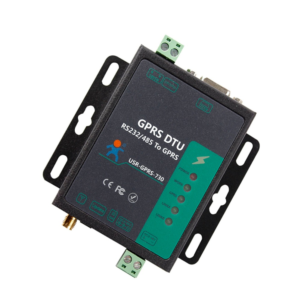 USR-GPRS232-730 Free Shipping Serial to GPRS Server RS232 to GPRS RS485 to GPRS Converter new rs 232 rs232 to rs 485 rs485 interface serial adapter converter r179t drop shipping