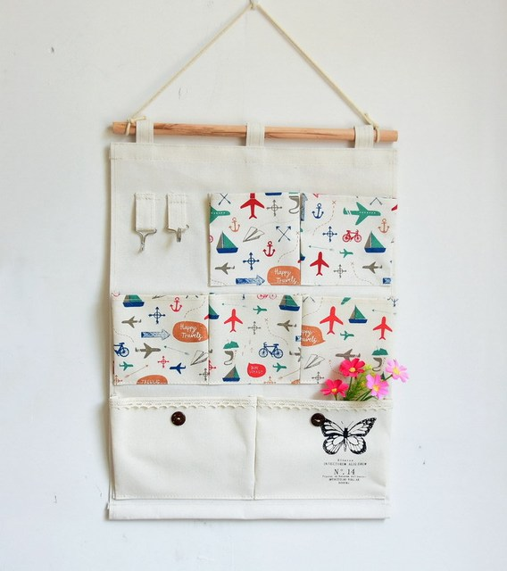 Flower Design Storage Holder 7pocket Letter 2hooks Wall Hanger Bag Fabric Key