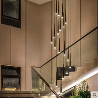Nordic creative stairwell rotating duplex building large chandelier modern minimalist personality restaurant aisle led long lamp