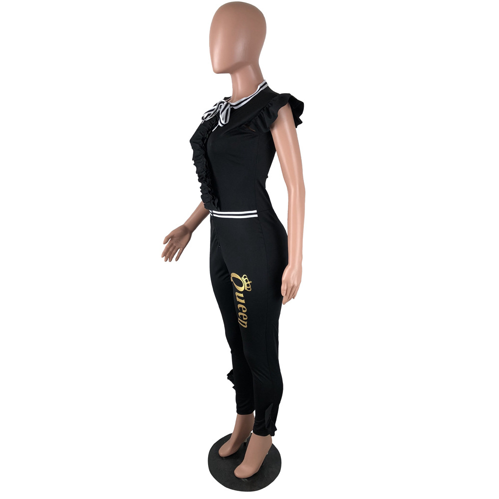 New Arrival 2018 Black Ruffle Jumpsuit Women Round Neck Sleeveless Summer Jumpsuit Office Work Wear Elegant Wide Leg Jumpsuit
