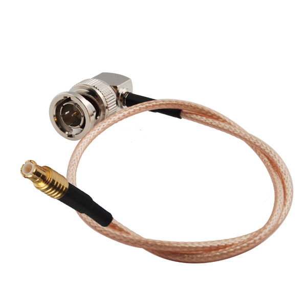 Superbat RF Coax Cable MCX Male Plug Straight To BNC Male Plug 75ohm Right Angle RG179 60cm