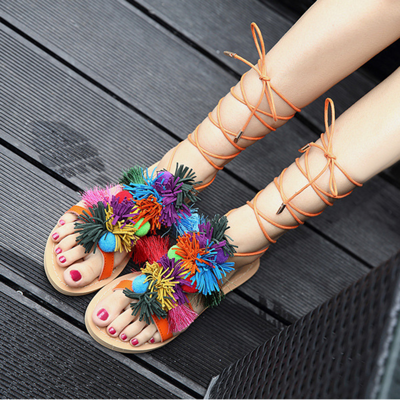 Rimocy ankle cross strap Ethnic Bohemian sandals women flat heels summer beach casual Pompon shoes rome style sandalias mujerRimocy ankle cross strap Ethnic Bohemian sandals women flat heels summer beach casual Pompon shoes rome style sandalias mujer