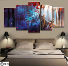 Home Decor Modular Canvas Picture 5 Piece Yin-Yang Old Man Poster Animation Painting Art Wall For Wholesale