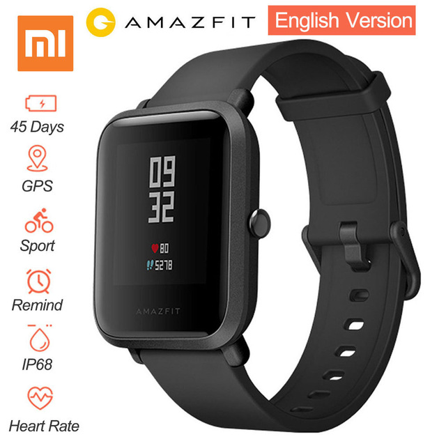 Xiaomi Amazfit Bip Smart Watch [English Version] Huami GPS Smartwatch Android iOS Heart Rate Monitor 45 Days Battery Life IP68 huami amazfit smart watch xiaomi smartwatch bip bit face gps fitness tacker heart rate ip68 waterproof english version