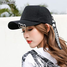XdanqinX Adult Womens Hat Personality Iron Ring Ponytail Baseball Cap Adjustable Head Circumference Size Hip Hop Caps For Women
