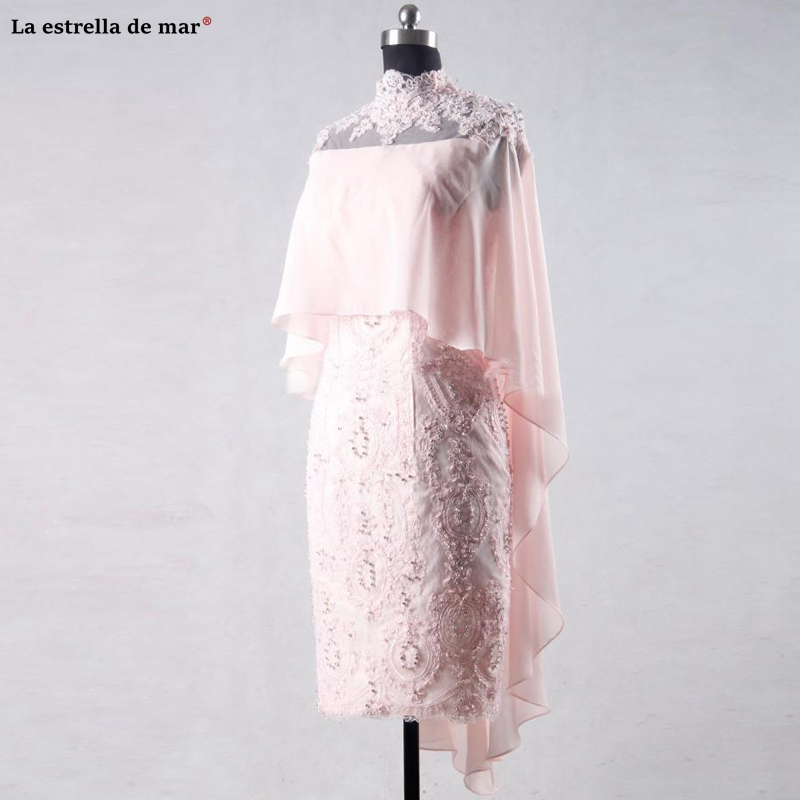 Pink Cocktail Dress Evening Dress Knee Length Mother Bohemian Style Sexy Mother Of The Bride Dresses Chiffon Lace Applique Beade