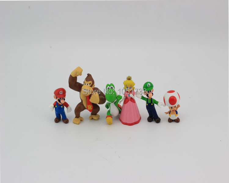 Luigi donkey kong 1Set 1Set=6pcs High Quality PVC Super Mario Bros Action Figures youshi mario Gift OPP retail