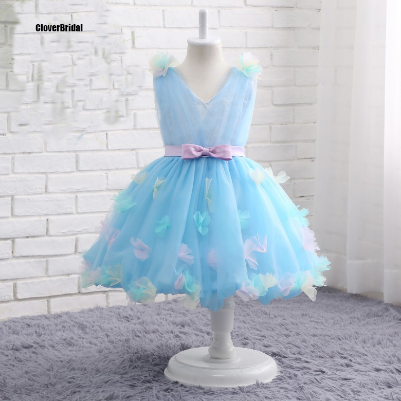 In stock ankle length A line light blue floral graduation dresses kids cheap size 2 10