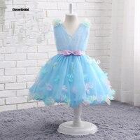 In Stock Ankle Length A Line Light Blue Floral Graduation Dresses Kids Cheap Size 2 10