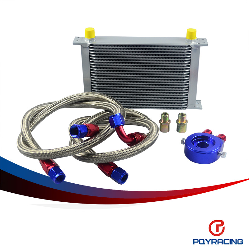 PQY RACING- AN10 OIL COOLER KIT 25RWOS TRANSMISSION OIL COOLER SILVER+OIL FILTER  ADAPTER BLUE + STAINLESS STEEL BRAIDED HOSE pqy store an10 oil cooler kit 25rwos transmission oil cooler silver oil filter adapter blue pqy3825b