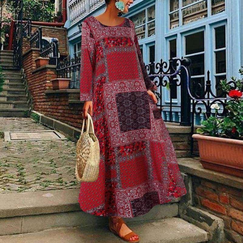 Autumn Vintage Floral Printed Long Dress ZANZEA Women Cotton Linen Sundress Robe Femme Long Sleeve Loose Maxi Vestido Plus Size