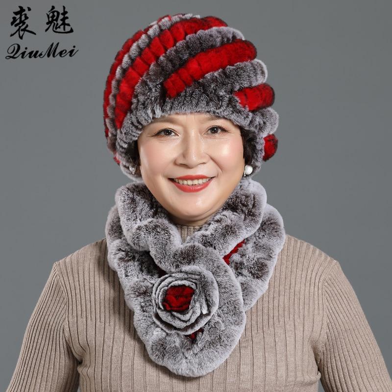 Women Hats Scarves Sets Warm Knit Real Rex Rabbit Fur Beanies Caps Pineapple Hats Winter Flower Scarves Hats Women