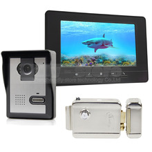 DIYSEUCR 7inch Video Intercom Video Door Phone Doorbell 1 Camera 1 Monitor + Electric Lock for Home / Office Security System