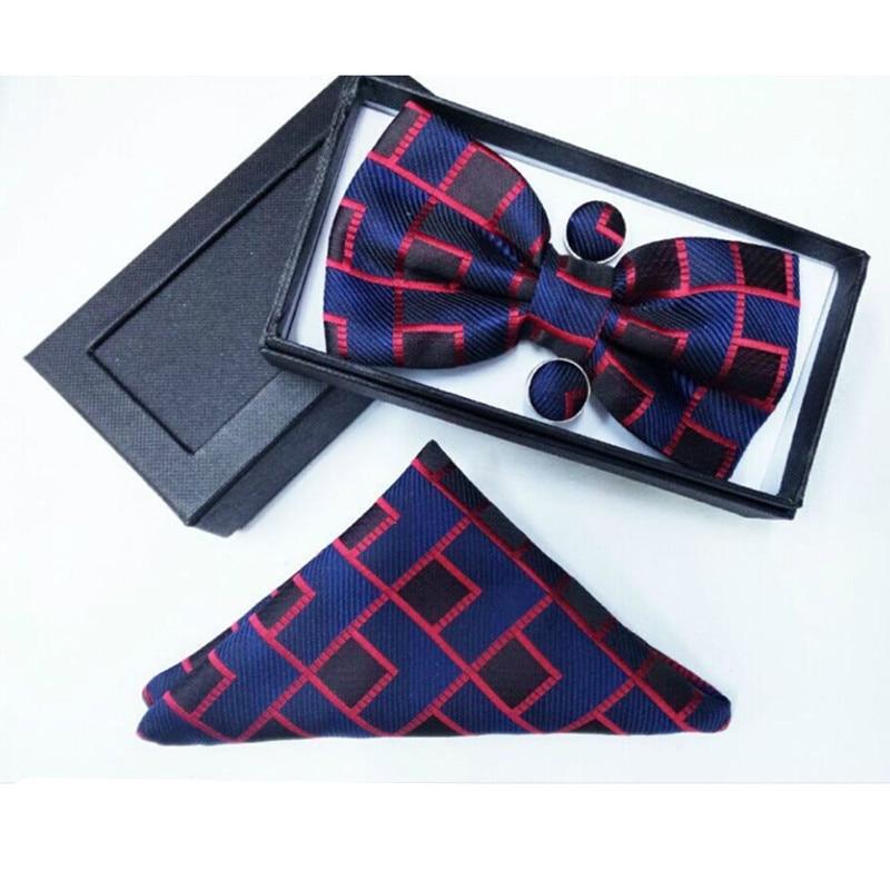 30882b03ab8f SHENNAIWEI 100%Silk Jacquard Woven Men Butterfly Bow Tie Cufflinks plaid  BowTie Pocket Square Handkerchief Hanky Suit Set box
