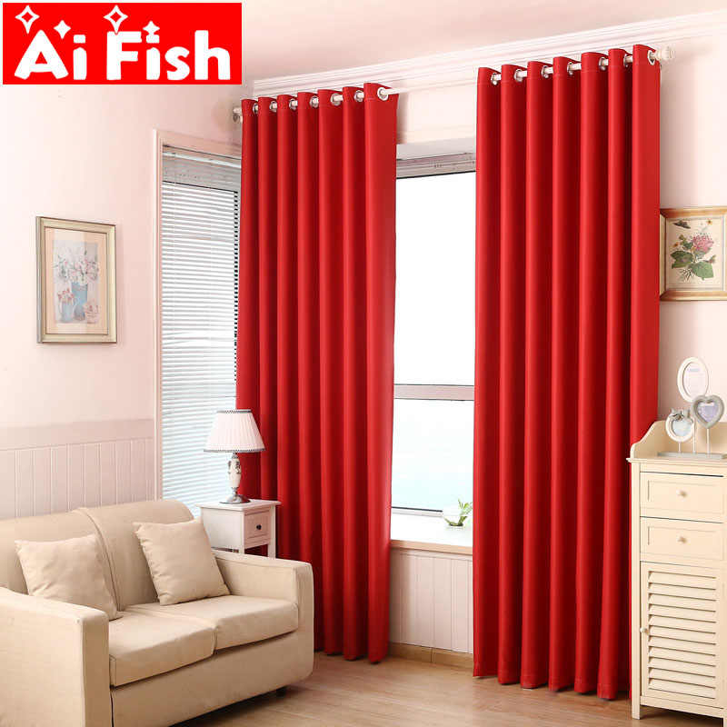 Red Semi-shade Curtains For living Room Mdoren Simple Black Double-sided Thick Silk Blinds Curtain Fabrics Drapes For Bedroom -4