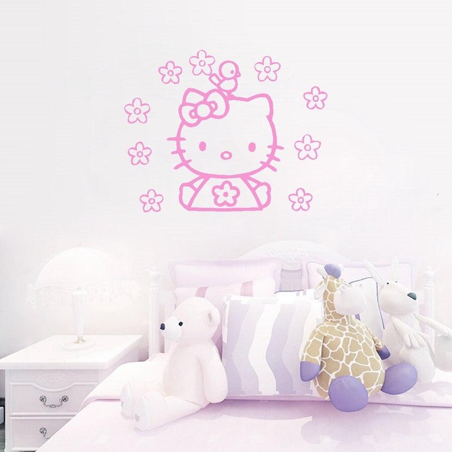 ჱCute Hello Kitty con flores y aves del arte del vinilo sticker ...