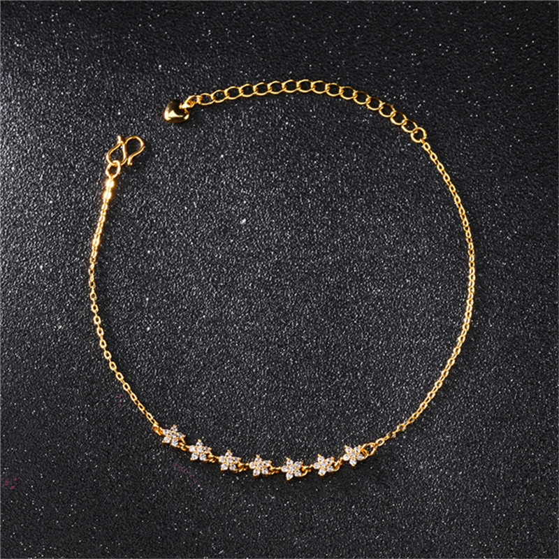 Rhinestone Ankle Bracelets Alloy Anklet Gold Ankle Metal Copper Foot Chain Bracelet For Women Star Anklet Foot Jewelry Gift 2018