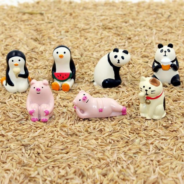 Decole Cat Lucky Cat Panda Penguin Miniature figurines Japan Zakka Animal Home Decoration Garden Resin craft toy Ornaments
