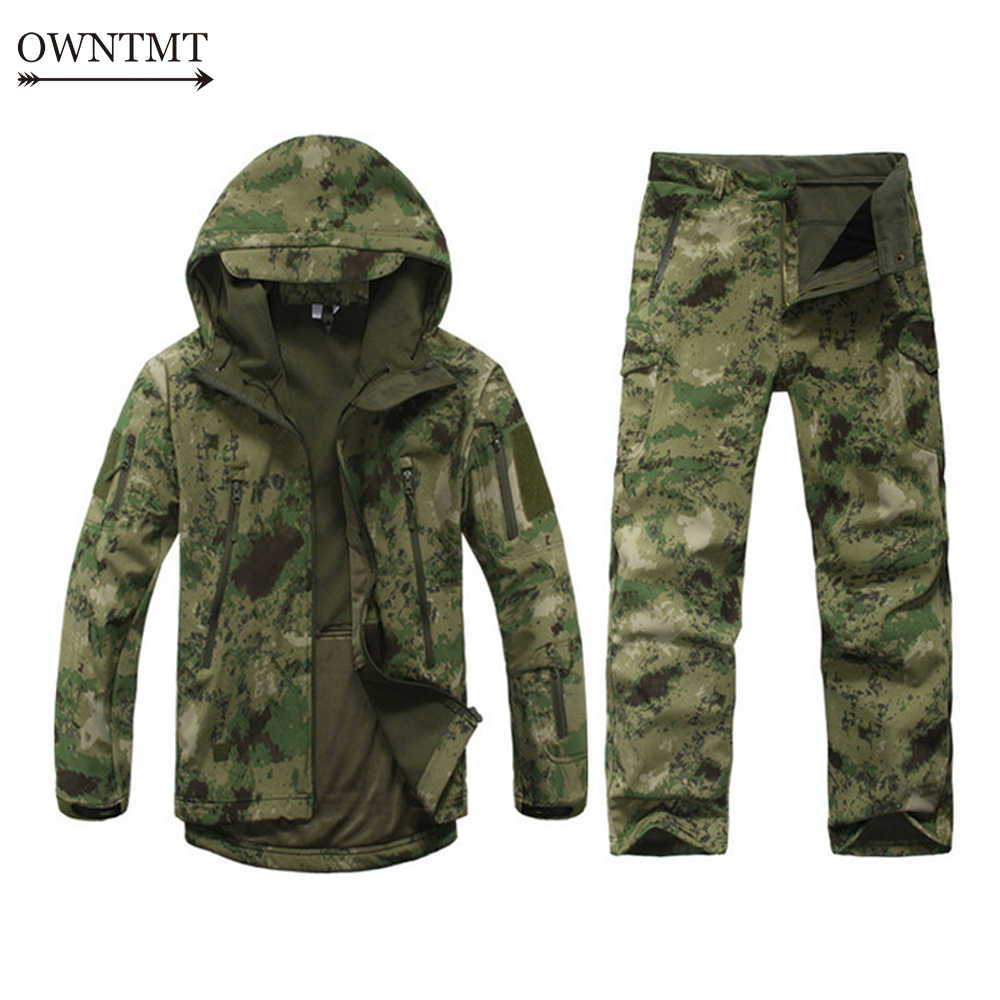 Tactical Uniform Outdoor Sport Softshell TAD Tactical Sets Men Military Camouflage Jacket+Pant Waterproof Windproof Hunting Suit