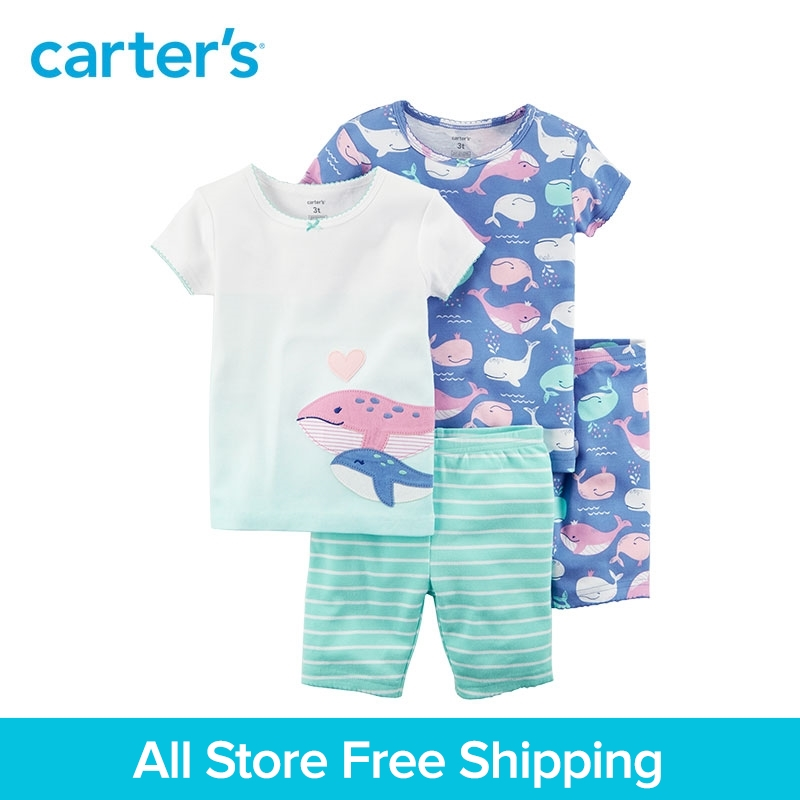 4pcs Whales stripes Cotton Pajamas clothing sets Short sleeves Carters baby children kids Girl Summer 23243418