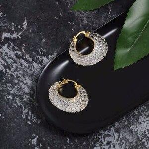 Image 3 - Boucles doreilles pour femmes, cristal, blanc, or acrylique, Bijoux de marque de luxe, à la mode, cerceau, nouvelle collection 2019