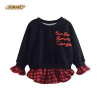 새로운 패션 여자 스웨터 편지 격자 무늬