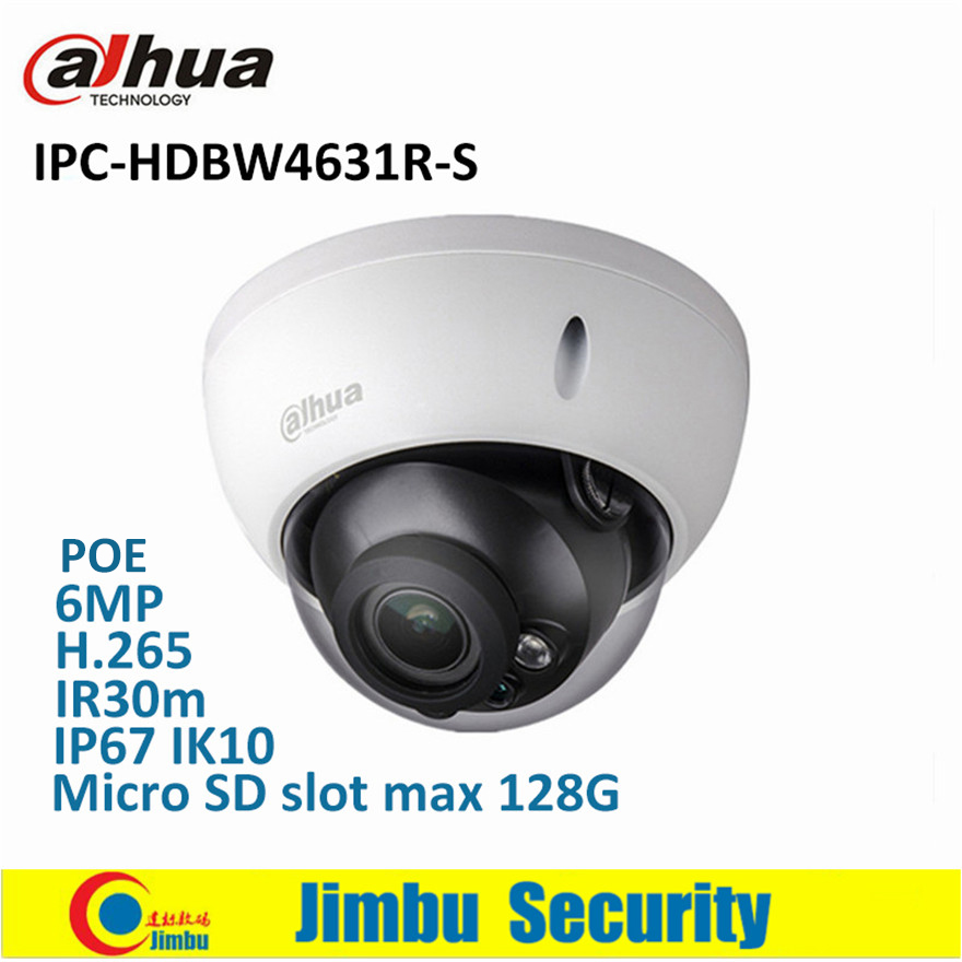 Dahua IP Camera 6MP POE IPC-HDBW4631R-S support SD slot IR30m IK10 IP67 cctv camera English firmware & multi-languag firmware цена 2017