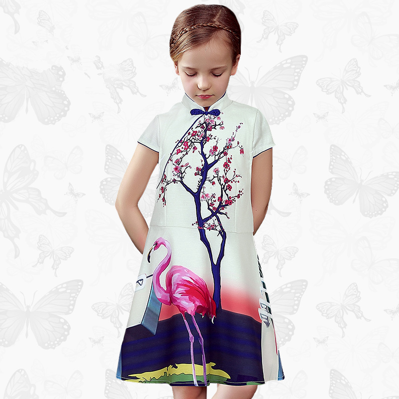 W.L.Monsoon Nationality cheongsam Parent-child dress Summer dress Short sleeve Children's wear Princess dress Floral Children's flutter sleeve elastic waist floral dress