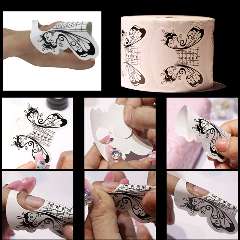 yiday 1 rolo de 500 pcs borboleta branca nail forms guia de extensao fita autocolante arte