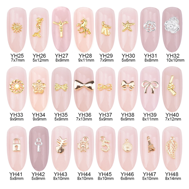 10pcs 24 designs alloy gold Jesus nail art studs Mermaid 3d unicorn ...