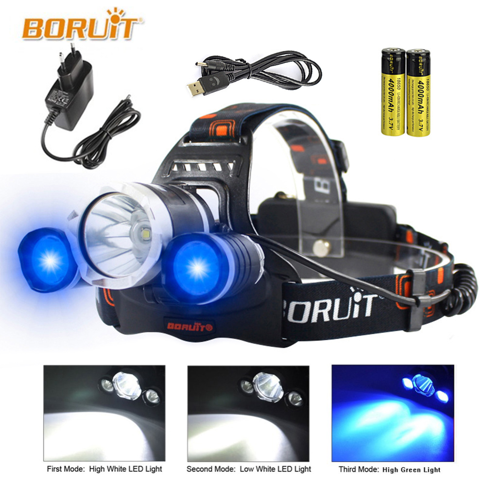BORUIT CREE XML- T6 XM-L L2 LED Headlamp Blue Light 18650 Rechargeable Waterproof Head Torch flashlight Head Lamp Camping Light b21 9000lm l2 cree led headlamp waterproof head light camping lamp boruit led lights by 18650 battery with usb cable