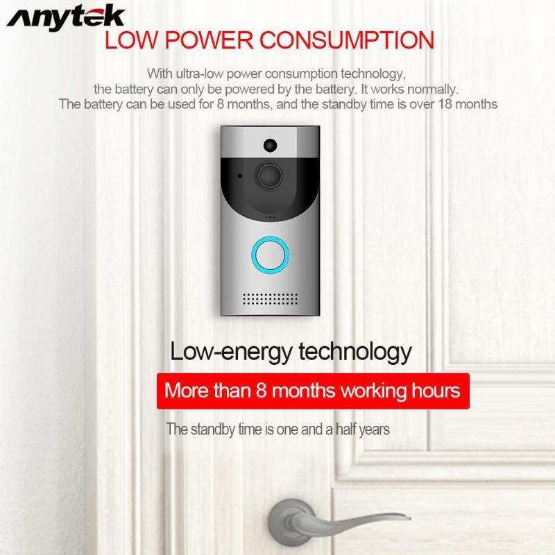Anytek B30 Sans Fil WiFi interphone vidéo caméra de sonnette + B10 Sonnette Récepteur Ensemble caméra de sonnette Wifi Vidéo vision nocturne - 3