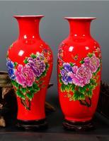 Jingdezhen porcelain Chinese red rich bamboo vase flower arrangement living room decoration
