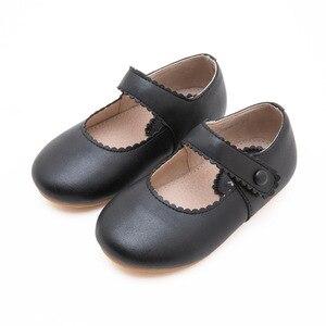 Image 5 - 春2020ベビー幼児ガールレトロメアリージェーンフラットリトル子供マイクロファイバー革ローファー子供黄、黒、ベージュ歩行の靴